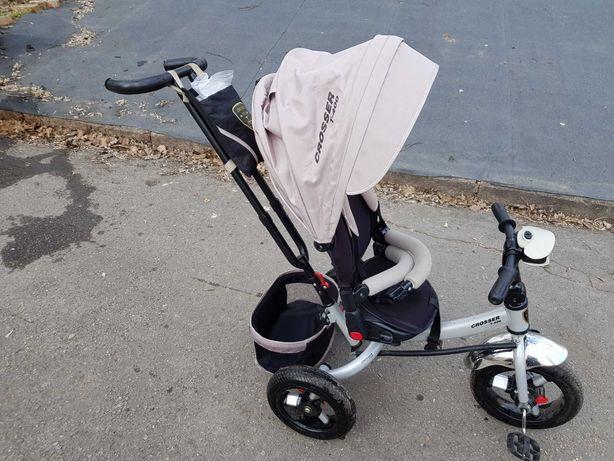 Трехколесный велосипед-коляска Azimut Crosser T-400 надувные колёса