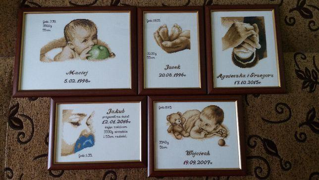 Wyjątkowa METRYCZKA Pamiątka narodzin chrzest roczek PREZENT haft