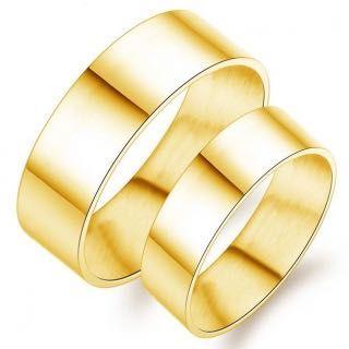 Obrączki złote o płaskim profilu (para)