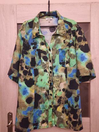 Kj Brand piękna tunika koszulowa przewiewna 100% len 54