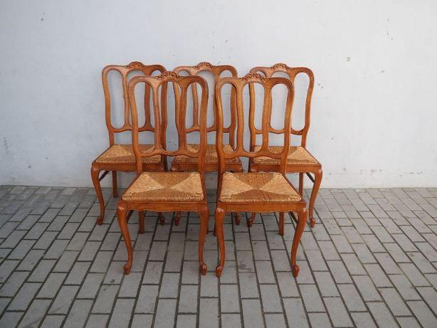 Zdobiony komplet 5 krzeseł ludwikowskich 656