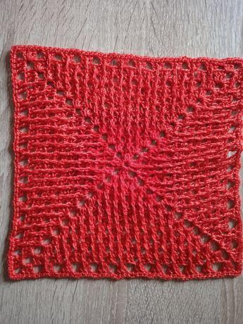 Serweta szydełkowa handmade czerwona