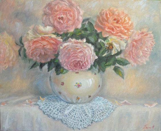 Картина маслом Розы в вазе .