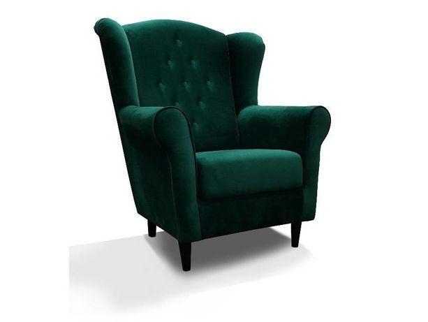 Fotel uszak BJORN IX skandynawski butelkowa zieleń glamour welur RIBES