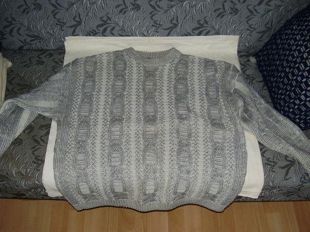 Sweter męski biało-szary