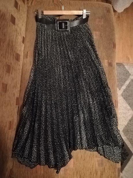 Czarna plisowana spódnica midi/maxi z paskiem XS (34) nowa