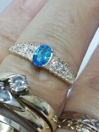 Błękitny BAJKOWY złoty pierścionek cudeńko