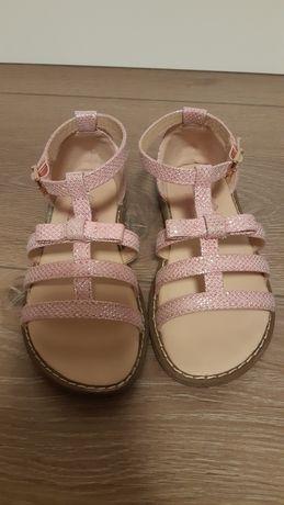 Sandałki sandały różowe błyszczące brokatowe