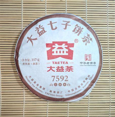 Китайский чай Шу пуэр (пуер)Menghai Dayi 7592. .Вес 357г.2019г.
