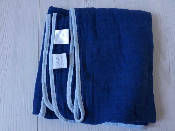ADEN ANAIS otulacz kocyk kołderka muślinowy bawełna niebieski