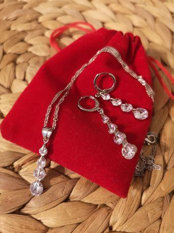 Srebrny zestaw kolczyki i naszyjnik Nowy