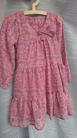 Matalan 98 /104 (3-4lata) cienka zwiewna sukienka z kokarda kwiaty
