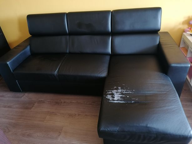 Skórzana kanapa, rogówka, narożnik z funkcją spania, rozkładany