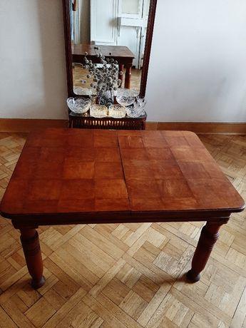 piękny stary przedwojenny stół rozkładany w szachownicę - unikat