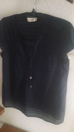 Bluzka bawełniana granat pliski,zaszewki M-L ,ciążowa