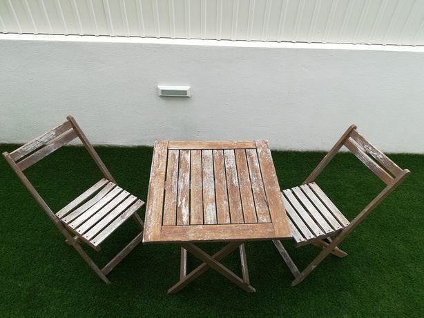 Conjunto Mesa e 2 Cadeiras Madeira Jardim