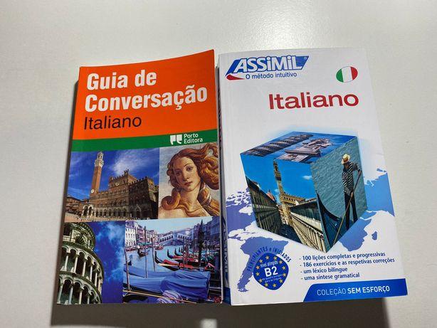 Livros de aprendizagem de Italiano - Assimil e Guia de Conversação