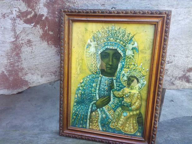 Piękny stary obraz Matki Boskiej z dzieciątkiem, dewocjonalia