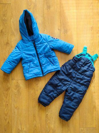 Kurtka zimowa spodnie zimowe narciarskie chłopięce komplet 12-18m r.86