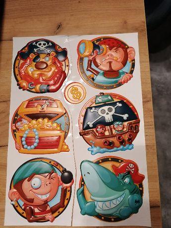 Naklejki na ścianę 3D wypukłe piraci kolorowe zestaw