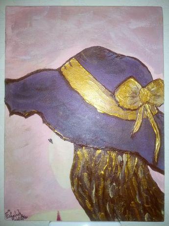 Картина акрил Дама в шляпе Женщина в шляпе Девушка в шляпе