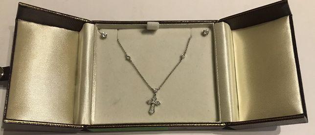 Naszyjnik Kolia Złoto Białe 750 18k Brylant Diament Kolczyki