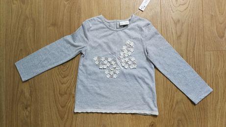 NEXT Top, T-shirt z motylkiem 92/98 NOWY