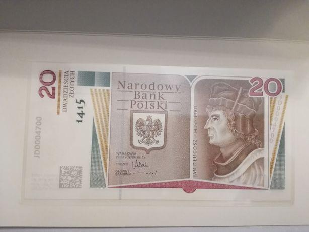 Banknot kolekcjonerski 20zł Jan Długosz pięć zer