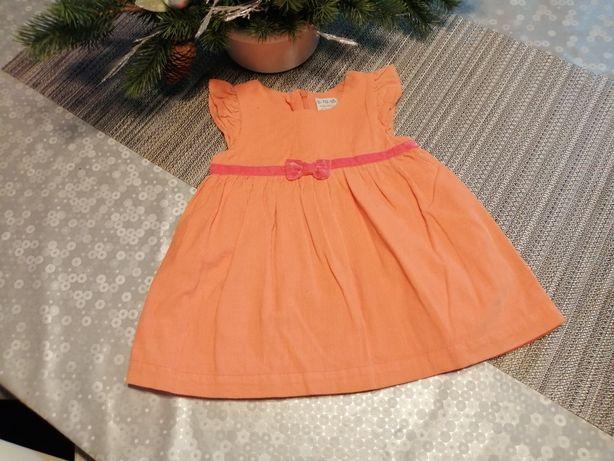 Sukienka sztruksowa pomarańczowa r 68