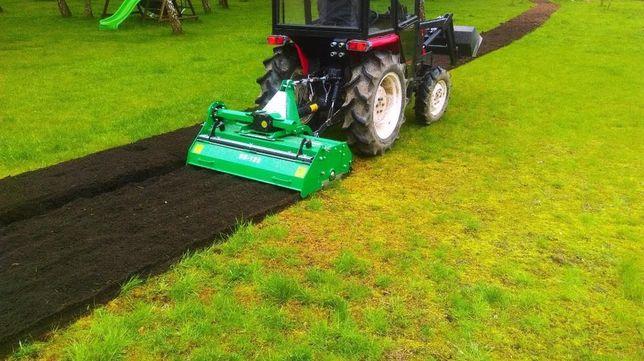 Mini traktor, glebogryzarka separacyjna zakładanie trawników