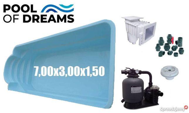 BASEN poliestrowy 7,00 x 3,00 x 1,50 + akcesoria+zadaszenie