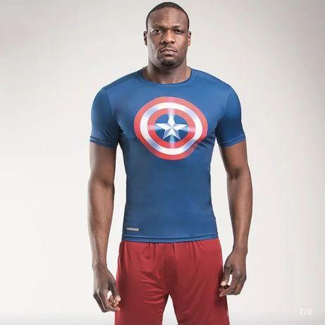 Мужская спортивная компрессионная футболка Капитан Америка (Marvel)