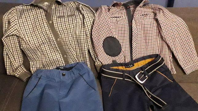komplety dla bliźniaków koszula spodenki rozm 122/128
