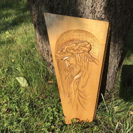 Rzezba drewniana jezus w koronie cierniowej drewno