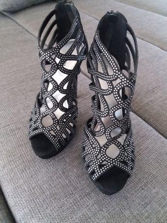 JAK NOWE Czarne szpilki 38,sandałki