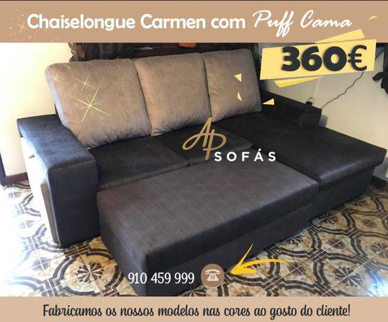Sofá Chaiselongue com Puff Cama - Preço de Fábrica