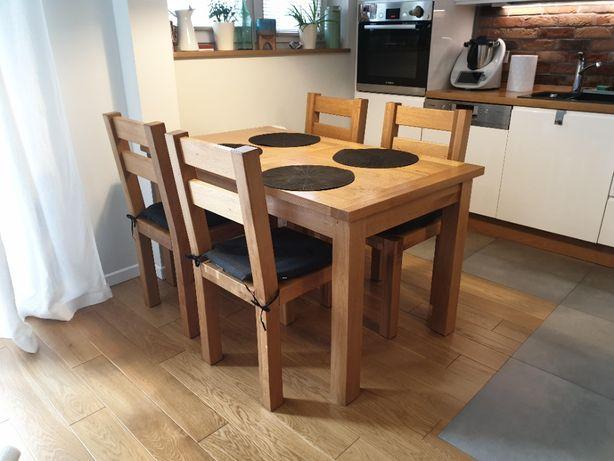 Stół dębowy 140x80cm + 4krzesła