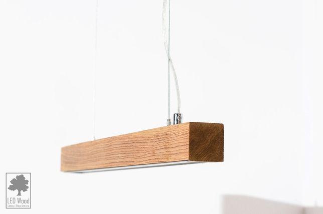 Wisząca lampa dębowa SLIM - 60 cm LED