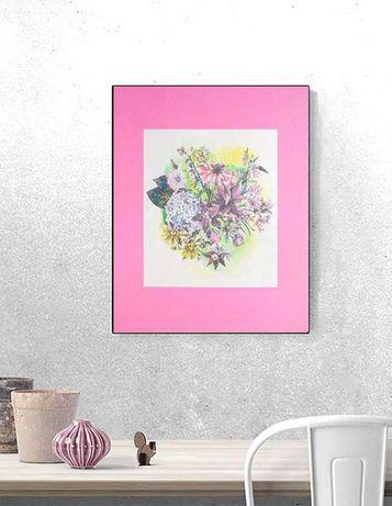 różowy plakat kwiaty, botaniczny obrazek A3, retro grafika rośliny