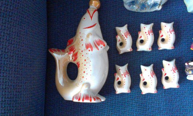 Porcelanowe ryby PRL karafka