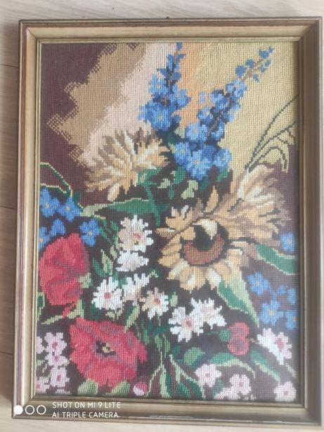 obraz haft krzyżykowy- kwiaty polne