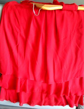 Sukienka elegancka, z falbanami, nowa, w kolorze intensywnej czerwieni