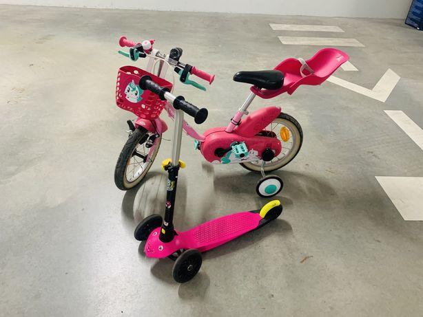 Vendo Bicicleta e trotinete de menina