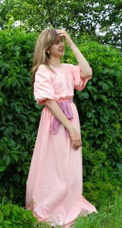 2 длинных платья белое и розовое