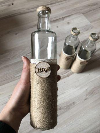 Butelki w stylu rustykalnym/ dekoracje ślubne rustykalne