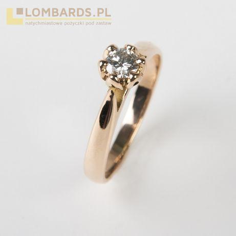 złoty pierścionek p. 585 z brylantem rozmiar 11,5