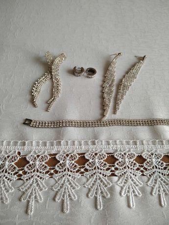 Kolczyki 3 pary i bransoletka