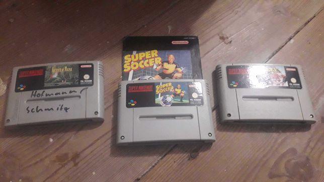 3 jogos SNES Pal - Secret of Mana, Super Soccer e Super Hockey