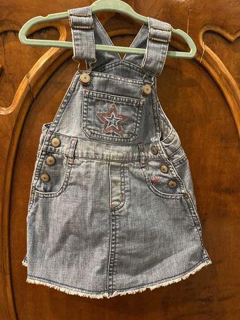 Dżinsowa sukienka na szelkach, baby gap, 86