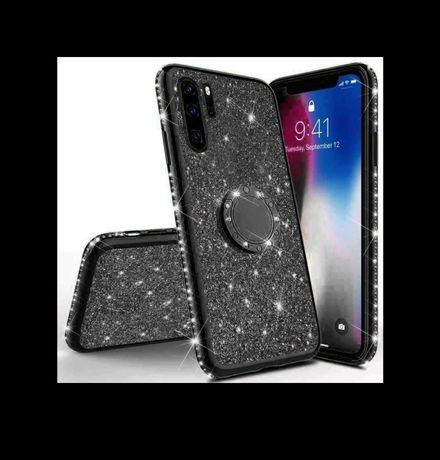 Huawei P Smart 2019 etui pokrowiec na palec czarny błyszczący cekiny